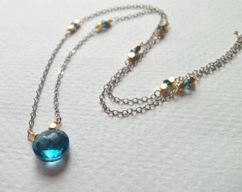 Minimalist Necklace AAA London Blue Topaz Gemstone Mixed Metal Wire Wrapped Necklace with Gold Fill and Oxidized Sterling Silver