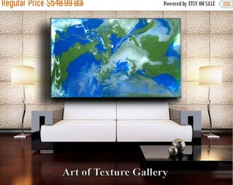 SALE 68 x 40 HUGE Custom Resin Glass Original Abstract Modern Blue Green White Metallic Flow Acrylic Painting by Je Hlobik