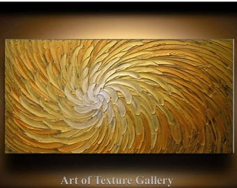 SALE Abstract Painting 52 x 26 Original Abstract Heavy Texture Carved Sculpture Floral Gold Orange Modern Metallics Oil Painting by Je Hlobi