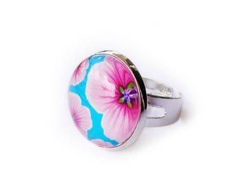 "Silver ring ""Pop flowers"" blue, pink, adjustable"