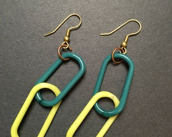 Lime and teal borosilicate glass chain link earrings