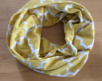 Jersey knit infinity scarf - yellow and white quatrefoil