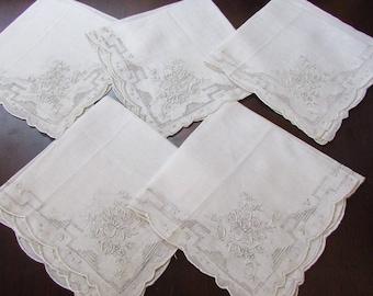 5 Vintage Floral Embroidered Madeira Drawn Work Wedding Handkerchief Hankies Scalloped Edges -off white hanky, wedding, bridesmaid gift