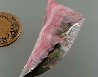 Rhodochrosite Banded Cabochon, Rhodochrosite with Marcasite, Rhodochrosite Cab, Pendant Cab, Gift Cab, C2472, Handcrafted by 49erMinerals