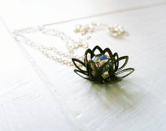 Lotus Flower Necklace, Dainty Silver Chain, Choose your color, Boho, Meditation, Feminine, Sparkly, Pretty, Turquoise, Green, Zen, Yoga Love