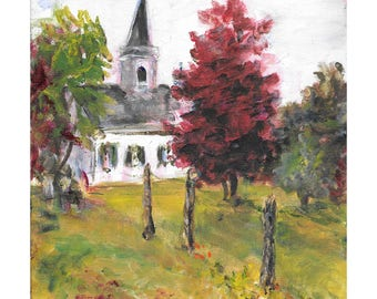 Original Acrylic landscape painting 10x8 Waterloo Village United Methodist Church, Stanhope, New Jersey red maple tree