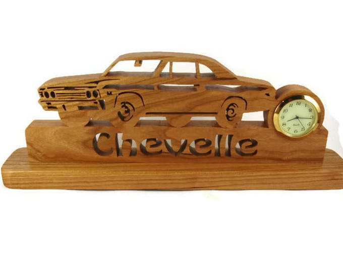 1967 Chevelle Malibu Desk Or Shelf Art With A Quartz Clock, Cut By Hand From Cherry Wood By KevsKrafts