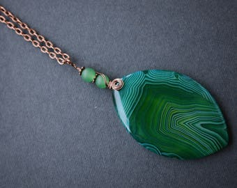 Green Agate Necklace, Green Necklace, Wire Wrapped Necklace, Antique Copper Necklace, Boho Necklace, Striped Agate