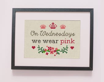 On Wednesdays we wear pink counted cross stitch pattern