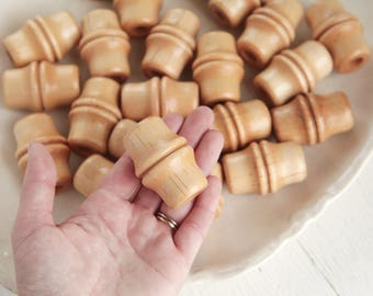 Macrame Beads - 34 x 50mm Bamboo Style Large Hole Wooden Beads, 4 Pcs.