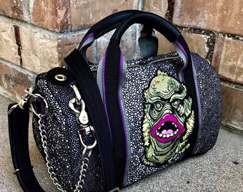 Monsters Series Tiny Duffel Bags Leather or Waxed Canvas and Leather duffel bag, Leather Duffel Bag  - Laurel Dasso