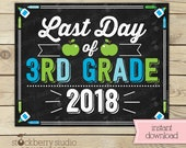 Boy Last Day of 3rd Grade Sign - Last Day of School Printable - Photo Props - Third Grade Chalkboard Sign - Instant Download Digital File