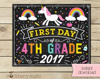 Unicorn First Day of 4th Grade Sign - Girl First Day of School Sign Printable - Instant Download - Rainbow First Day Fourth Grade Sign