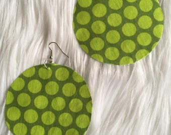 Basketball wives big polka dots  shades of green drop dangle earrings printed 3""