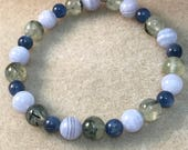 Prehnite with Epidote, Blue Lace Agate & Blue Kyanite Round Bead Stretch Bracelet With Sterling Silver Accent