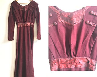1910 Edwardian Burgundy Wool Dress