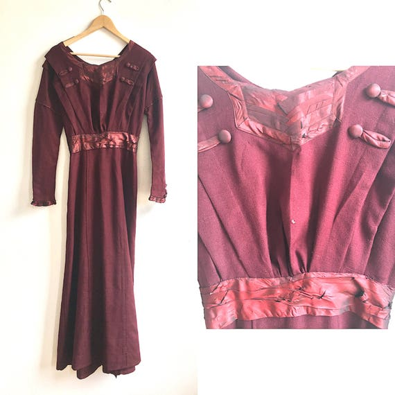 1910 Edwardian Burgundy Wool Dress