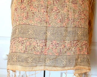 Vintage 70's paper thin cotton India Scarf with fringe