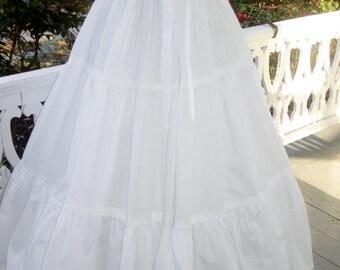 7 (Seven)  Yard Cotton Ruffled  Petticoat Colonial, Pioneer, Prairie -Reenactment - Women