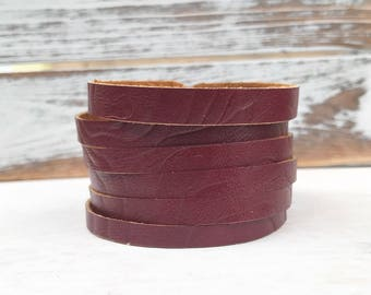 Leather Bangle Bracelet - Embossed Burgundy