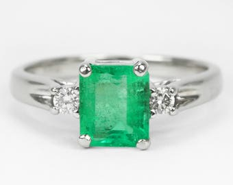 14K Three Stone Emerald Diamond Engagement Gold Ring Natural Colombian