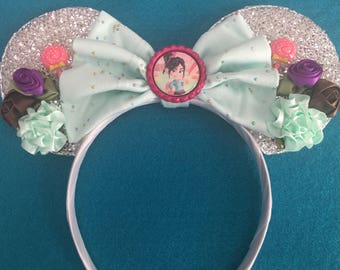 Wreck it Ralph Vanellope Von Schweetz Silver Sparkle floral Mouse Ears headband great Birthday Party Gift Favor Marathon Souvenir