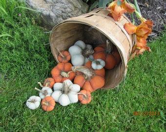 SET of 3 Primitive Halloween Pumpkins Muslin Pumpkins with Real Dried Stems from Darlas Closet