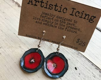 Colorful Poppy red and gray kiln fired enamel earrings