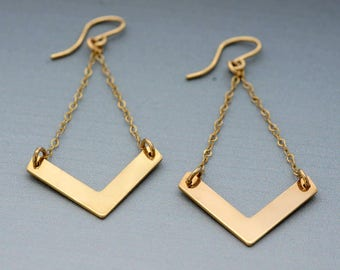 Gold Earrings - Chevron Earrings with Gold Chain 14k Yellow Gold Dangle Earrings Ear Wires for every woman