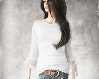 White top - Pleat lace mid sleeve - scoop neck top - pull over tee - bow shirt