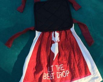 Let the beet drop apron dish towel