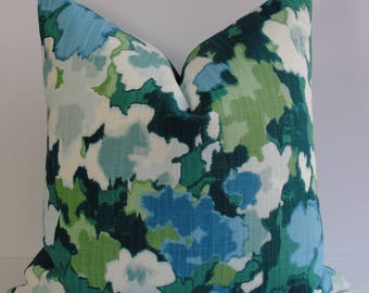 Robert Allen Madcap Cottage Rousham Romp Decorative pillow cover Designer chinoiserie green blue teal floral throw pillow BOTH SIDES