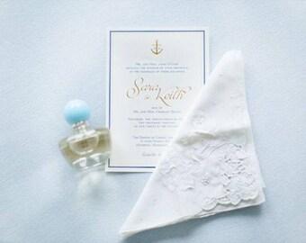 Anchor Initial Foil Wedding Invitation, Pocketfold invitation, nautical invitation, beach invitation, cape cod invitation