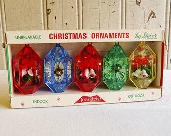 Five Vintage Jewelbrite Christmas Tree Ornaments in Original Box - Hexagonal Diorama Ornaments - Snowflakes and Bells - Kitschmas