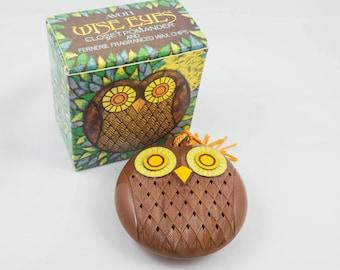 Avon Owl Closet Pomander Case Wise Eyes Sachet 1970s  Fragrance Holder Linen Storage Air Freshener