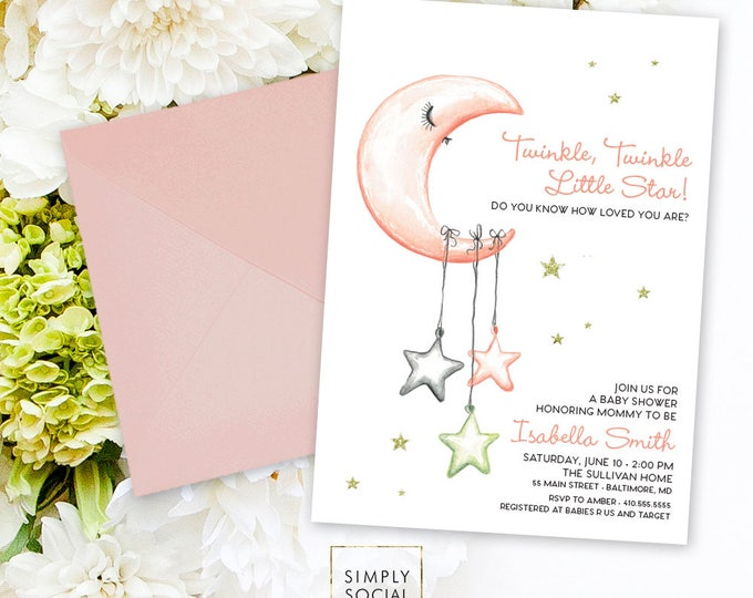 Little Star Baby Shower Invitation - It's a Girl Watercolor Moon and Stars Modern Baby Shower Pink and Grey Twinkle Twinkle Printable