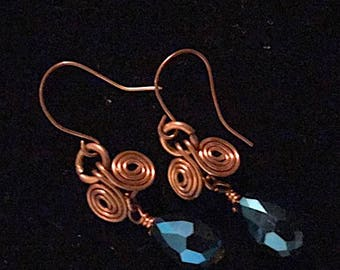 Copper Spirals with Blue Gem Earrings