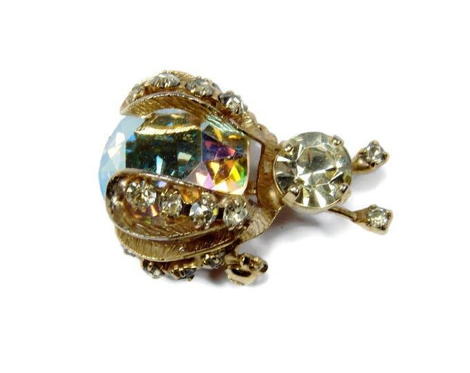 Vintage WARNER Rhinestone Bug Bin, Bug Brooch, Vintage Jewelry, Ladybug Brooch, Aurora Borealis Rhinestone, Gold Tone, 1950s Jewelry