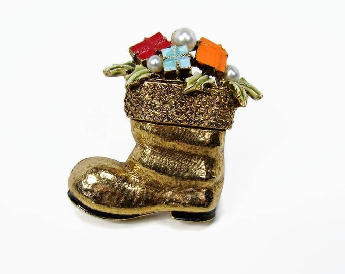 Vintage ART Santa Claus Boot Brooch