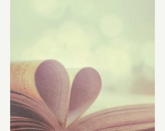 Book art Love: Love Story Fine Art Photography, Still life Photography, pages folded into a heart shape friendship art print, Heart book art