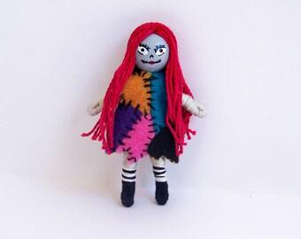 Sally, Nightmare Before Christmas 2.5 inch tiny pocket bendy doll, dollhouse doll, miniature, handmade, hand-painted, Halloween, spooky