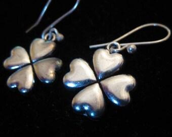 Antiqued Silver Four Leaf Clover Shamrock Dangle Earrings