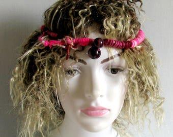 Boho Gypsy Bracelet Tribal Cuff Kuchi Bracelet Bohemian Multicolor Fiber Cuff Fringe Hippie Bracelet Stacking dread hair wrap accessories