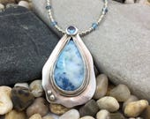 Large Sparkling Blue Drusy Agate, blue spinel stone and fine silver pendant necklace precious metal clay silver