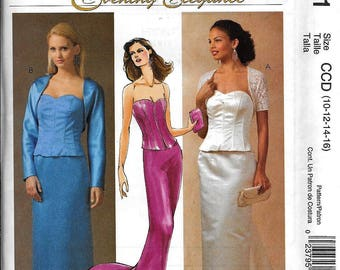 McCall's M4711 Evening Elegance 2-Pc Formal Dress Skirt & Top Sewing Pattern 4711 UNCUT Size 10, 12, 14, 16