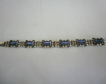 Vintage Taxco Sterling Silver Bracelet with Blue Quartz/Mexican Silver 925 Bracelet with Blue Quartz/Signed Bracelet/Vintage Link Bracelet