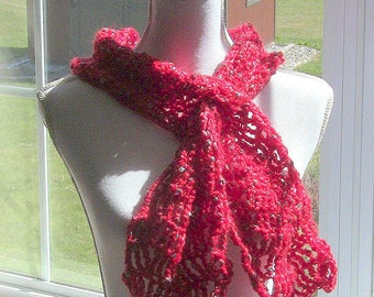 Womens Scarf, Red Scarf, Red Keyhole Scarf, Trendy Scarf, Red Mohair Scarf, Keyhole Scarf