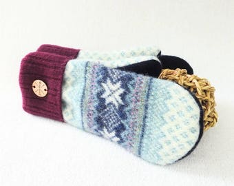 Pastel Mittens PINK & AQUA Blue Nordic / Fair Isle Sweater Wool Ecofriendly Fleece Lined Gloves Gift Under 50 for Women Recycled Sweater