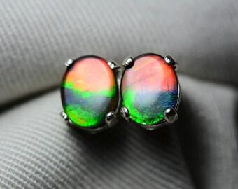 Ammolite Earrings, Ammolite Stud Earrings, Sterling Silver, 9x7mm Oval Cabochon, Alberta Canada Jewelry Jewellery, Pair #27