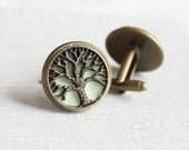 mint green concrete tree of life cufflinks, celtic cufflinks, anniversary gift, best man gift, mens jewelry, concrete jewelry cement jewelry